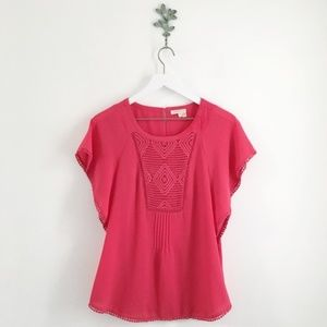 Anthro. Meadow Rue Pink Crochet Accent Blouse S